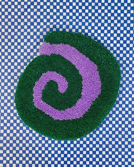 Spiral Coffee Table Rug- Green/Purple