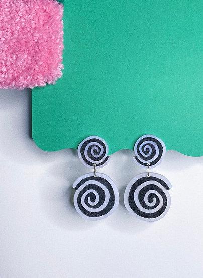 Double Spiral Earrings- Pearl/Black