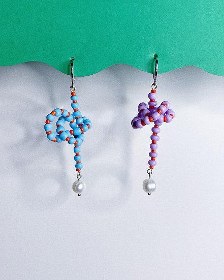 Asymmetric Beaded Knot Earrings