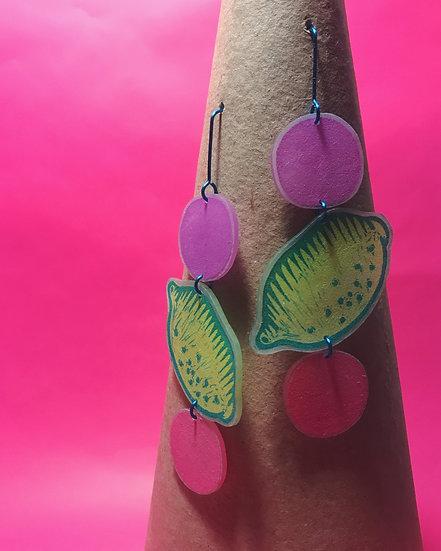Lemon Earrings - Yellow/Purple/Pink - Block Printed