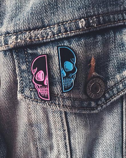 Skull Splice Enamel Pins - Pink/Blue