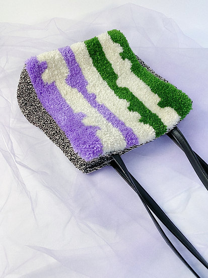 Upcycled Tufted Bag- Purple/Green