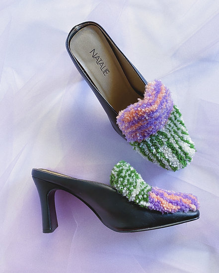 Lilac/Green/Peach Tufted Mules- Size 7