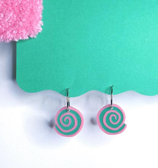 Spiral Hoops- Pink/Green