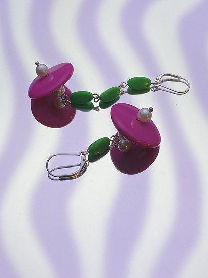 Asymmetric Drop Earrings- Pink/Green