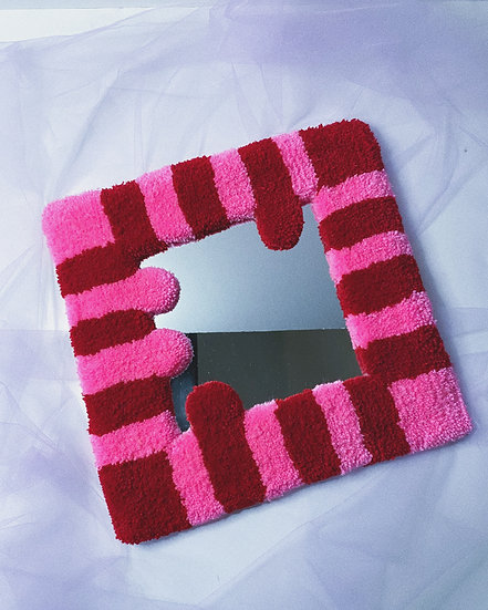 Tufted Mirror- Red/Pink Stripe
