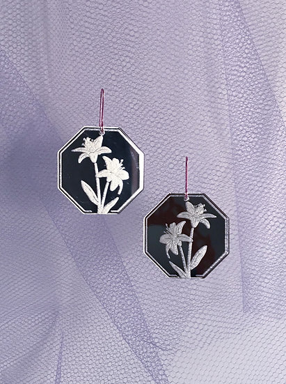 Etched Lily Mirror Earrings