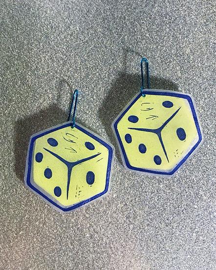 Rollin' Dice Earrings- Citron - Blockprinted