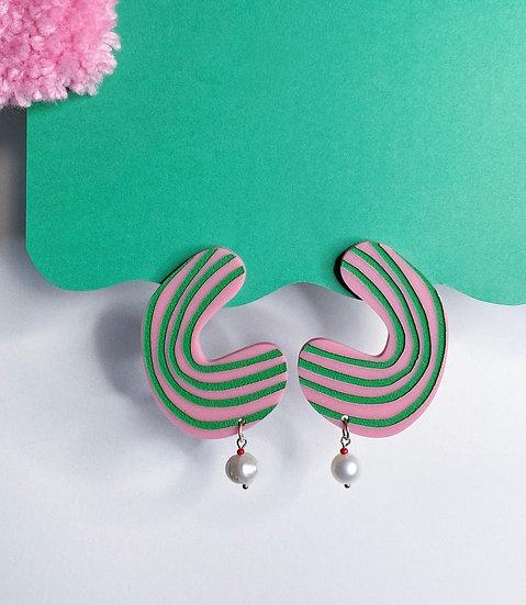 Stripe Blob Earrings- Pink/Green