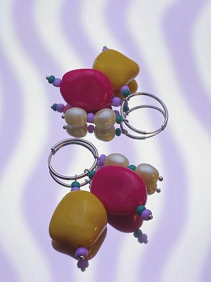Vintage Cluster Hoop- Pink/Yellow/Pearl