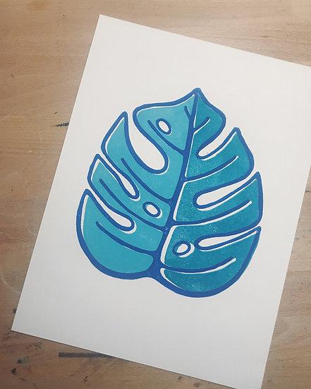 Monstera Leaf Block Print