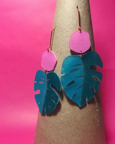 Monstera Earrings - Teal/Pink - Block Printed