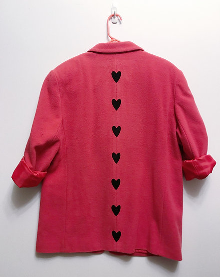 Pink Heart Blazer Jacket- Upcycled M/L