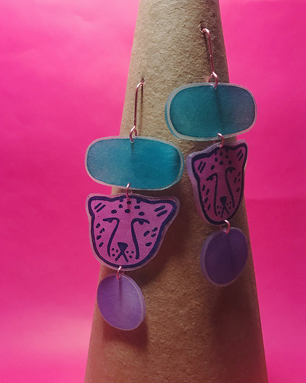 Cheetah Earrings - Teal/Pink/Purple - Block Printed