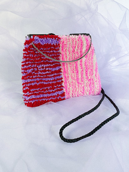 Upcycled Tufted Bag- Pink/Red/Purple