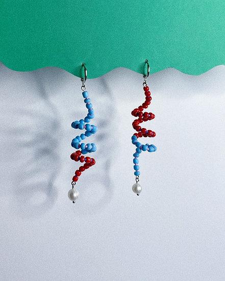 Beaded Twist Earrings- Blue/Red
