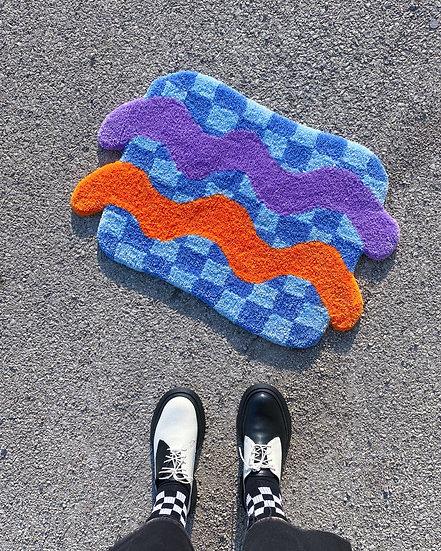 Checks n Waves Rug- Blue/Purple/Orange