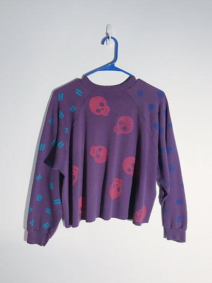 Confetti Skull Sweatshirt-Upcycled - L/XL