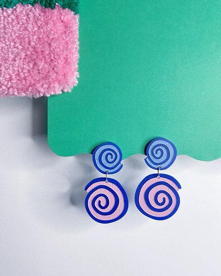 Double Spiral Earrings- Blue/Pink