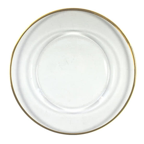 CHARGER glass gold rim