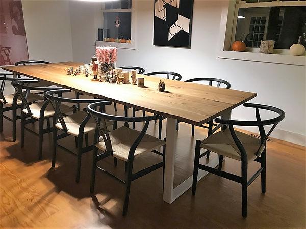 Metal table legs in white powder coat by Dirt Frog Furniture