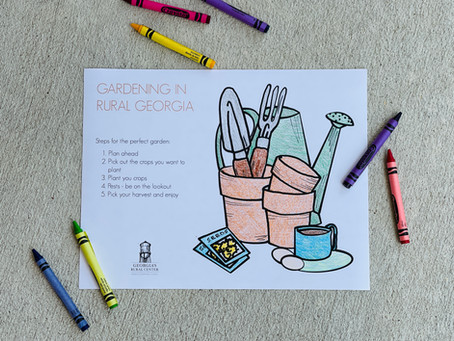 Coloring pages: Gardening and vegetables in rural Georgia
