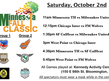 Schedule for 2021 Fall Classic! See in person OR stream LIVE on Youtube!