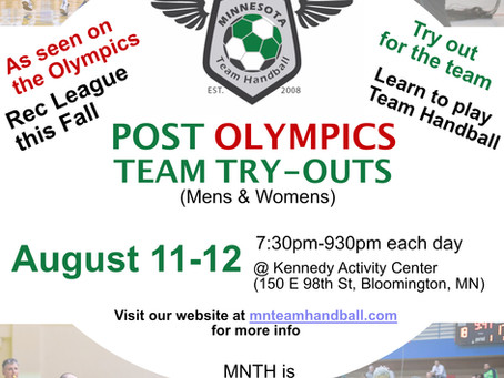 Minnesota TH adds Post-Olympic Tryouts, August 11-12, in Bloomington,MN!