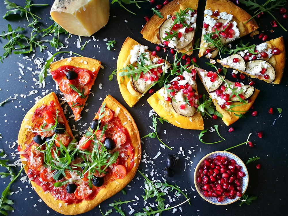 vegetarische pompoen pizza