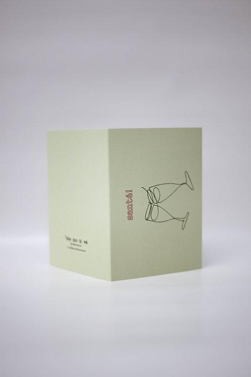 """Kerstkaart """"SANTÉ"""" + envelop (5 stuks)"""