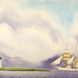 Sailing by Bird Island Light