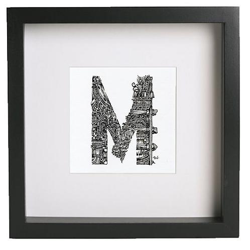 Original alphabet artworks (M) (25cm x 25cm framed) | Limited Edition