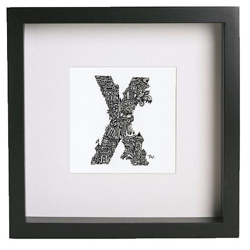 Original alphabet artworks (X) (25cm x 25cm framed) | Limited Edition