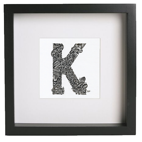 Original alphabet artworks (K) (25cm x 25cm framed) | Limited Edition