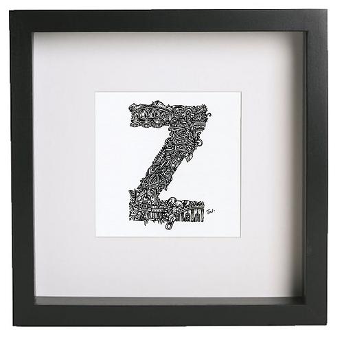 Original alphabet artworks (Z) (25cm x 25cm framed) | Limited Edition