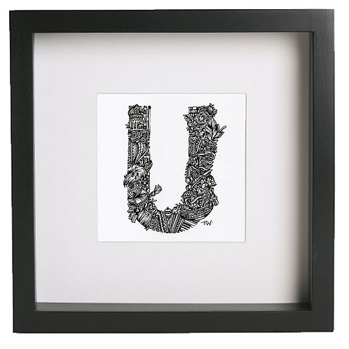 Original alphabet artworks (U) (25cm x 25cm framed) | Limited Edition