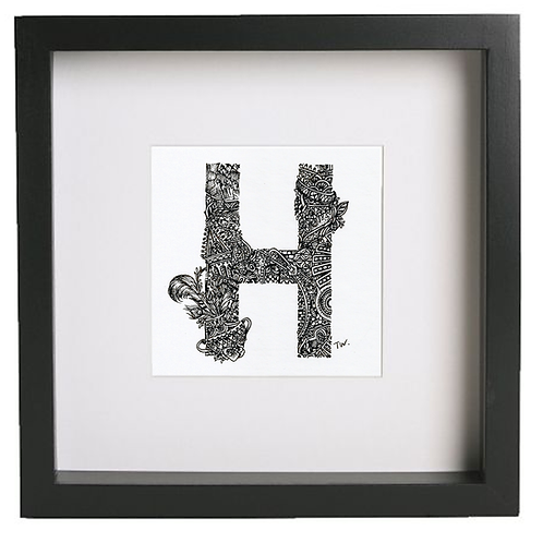 Original alphabet artworks (H) (25cm x 25cm framed) | Limited Edition