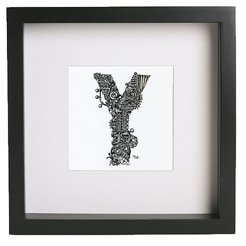 Original alphabet artworks (Y) (25cm x 25cm framed) | Limited Edition