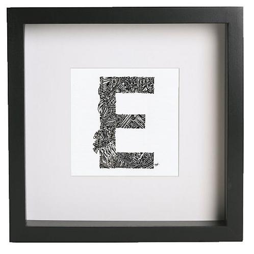 Original alphabet artworks (E) (25cm x 25cm framed) | Limited Edition
