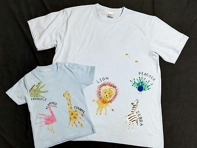 子育て応援券 手形Tシャツ 手形動物 足型