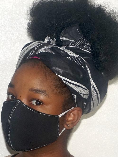Black Mask Set with Black head wrap strips