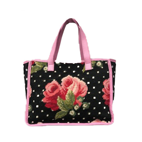 Hand Needlepoint Floral Shopper