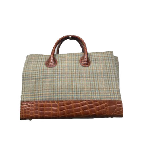 Plaid Satchel with Croc Embossed Trim