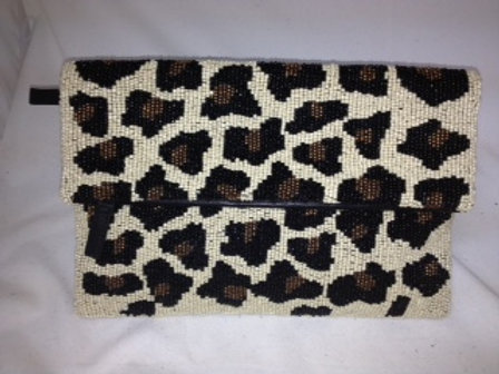 Beaded Leopard Fold Over Clutch