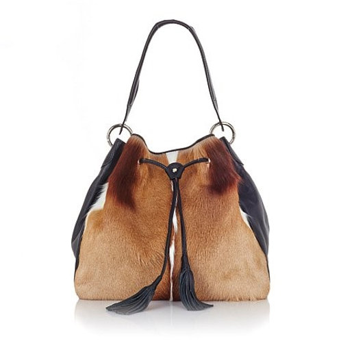 Leather and Springbok Drawstring Hobo