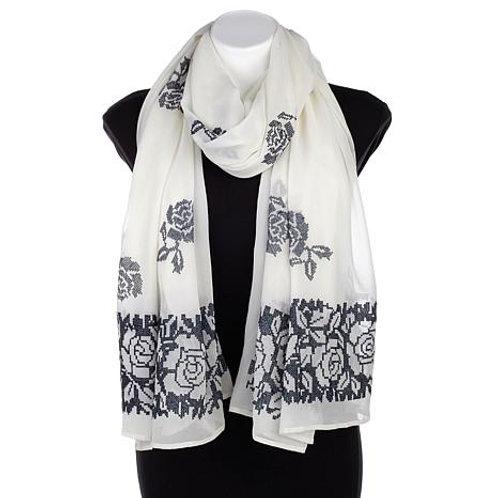 Cross-Stitch Rose Silk Scarf