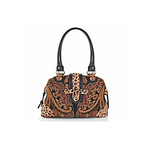 Crewel Embroidered Satchel with Leopard