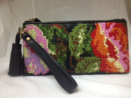 Rose Embroidered Top Zip Pouch
