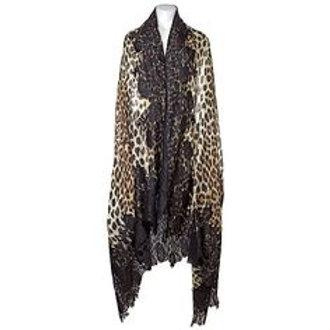 Leopard Hand-Appliqued Lace Scarves