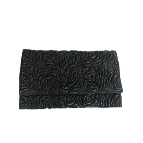 Rose Embossed Leather Clutch
